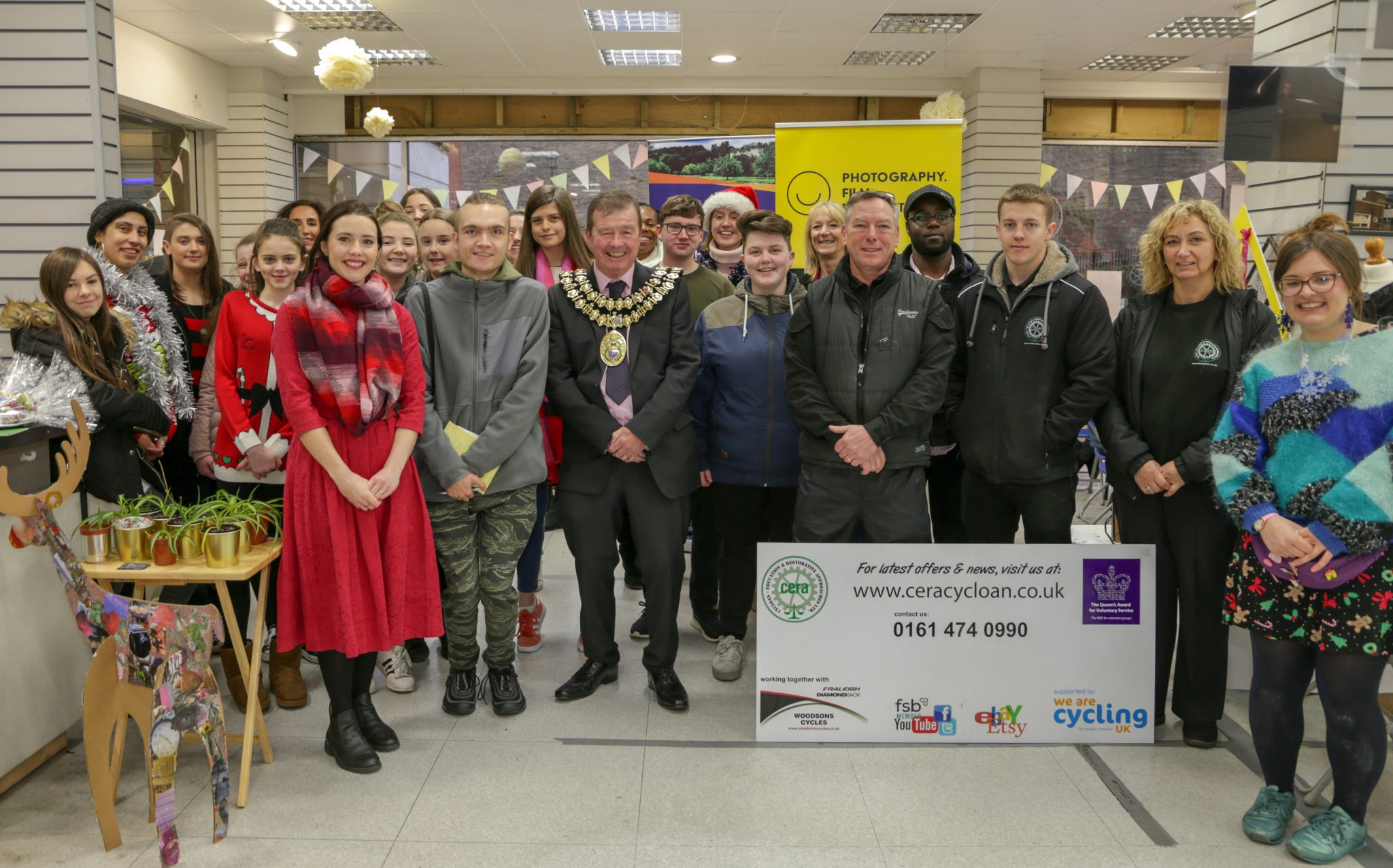 The Mayor opens SAZ MEDIA's festive community event at Merseyway shopping centre.